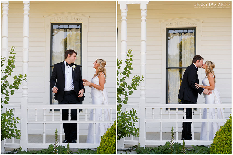 the bride and groom share a precious first look at the historic barr mansion