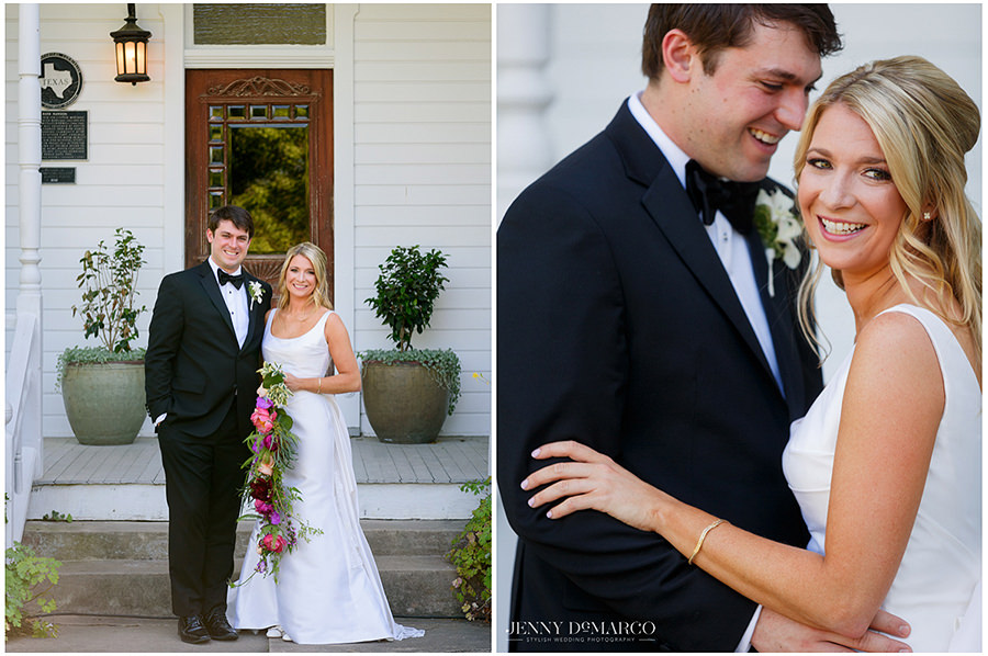 the bride and groom stand in front of the beautiful white mansion during their first look