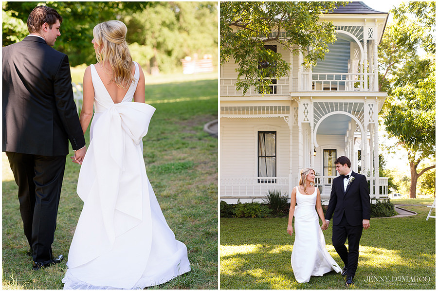 the couple strolls through the beautiful front lawn in a beautiful pre wedding shot