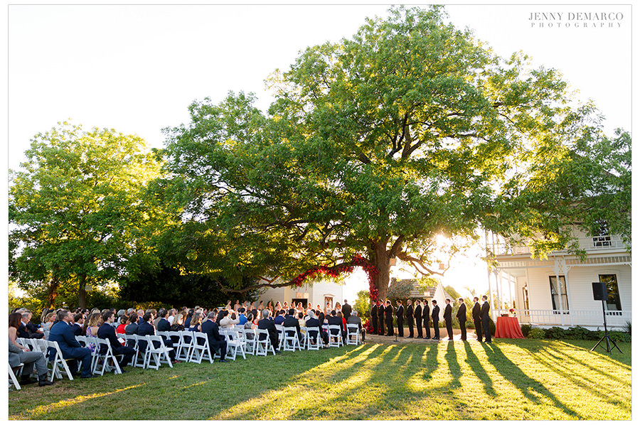 a wide shot of the beautiful barr mansion lawn wedding
