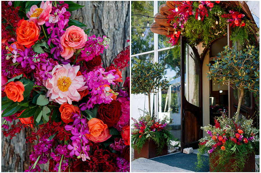 the colorful spring flower arrangements of the historic barr mansion wedding