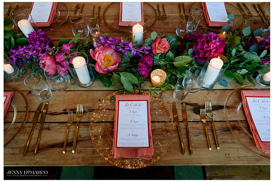 the elegant but playful setting of the table