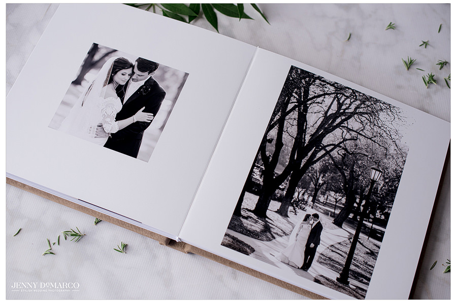 black and white elegant spread inside of the signature brown leather album