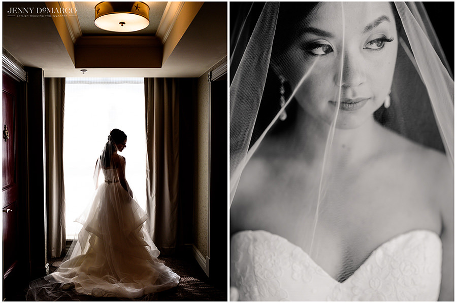 dramatic bridal session before first look