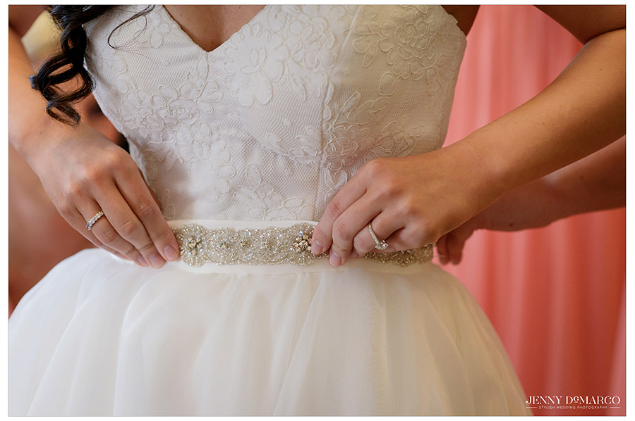 beautiful details of the bride's dress at the Bob Bullock