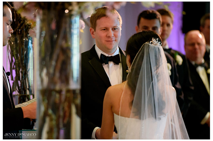 beautiful shot of the bride and groom at the ceremony of the Bob Bullock