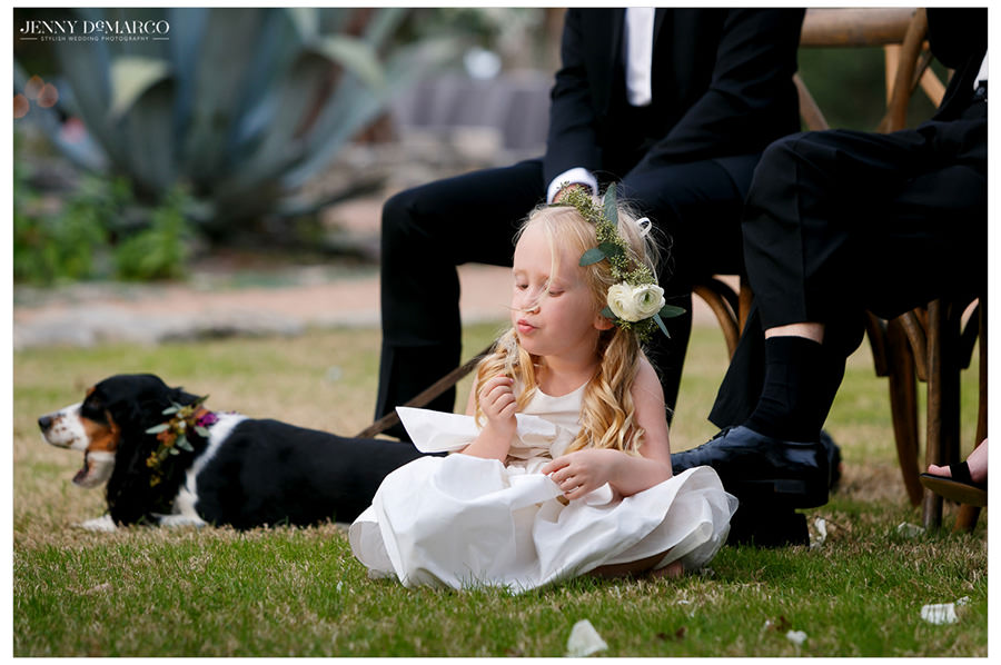 sweet portrait of flower girl at beautiful weeding in the hill country