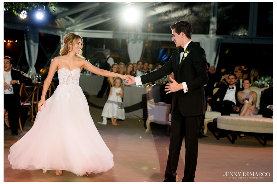 bride and groom share first dance at the Greenhouse at Driftwood