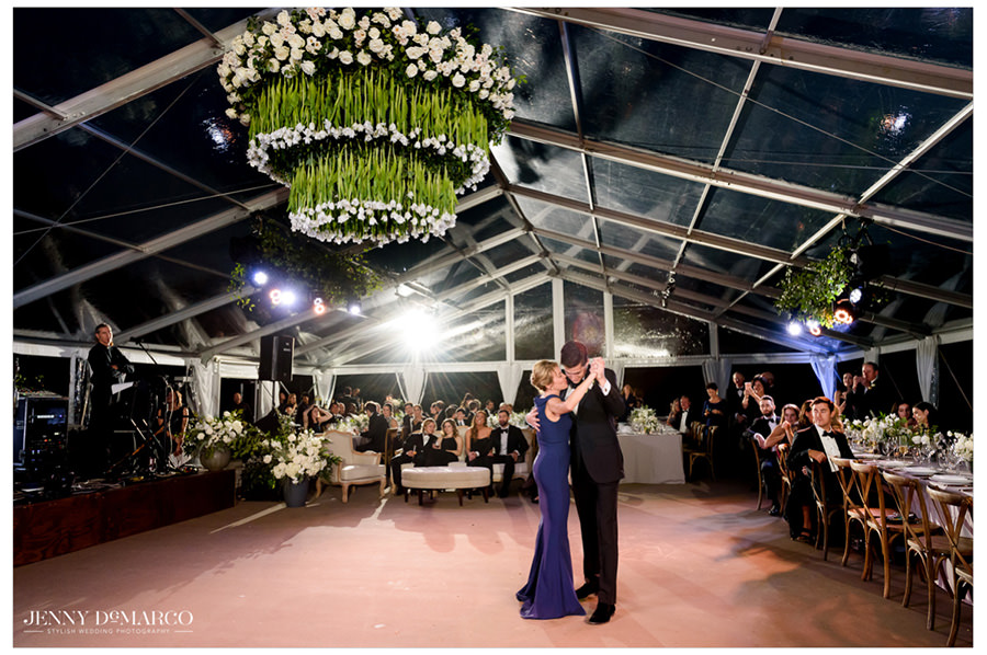 mother and groom share sweet and emotional first dance under the stars