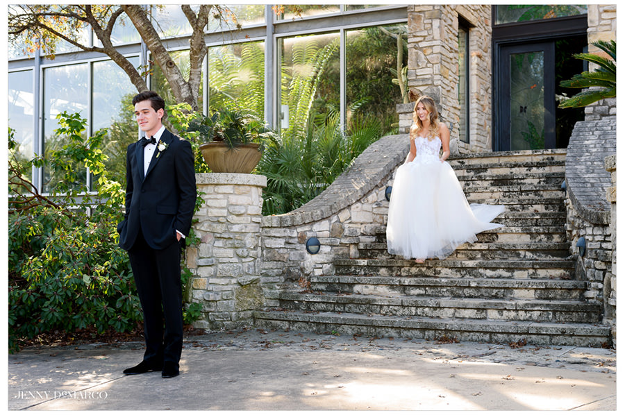 elegant bride approaches from the unique steps at the Greenhouse