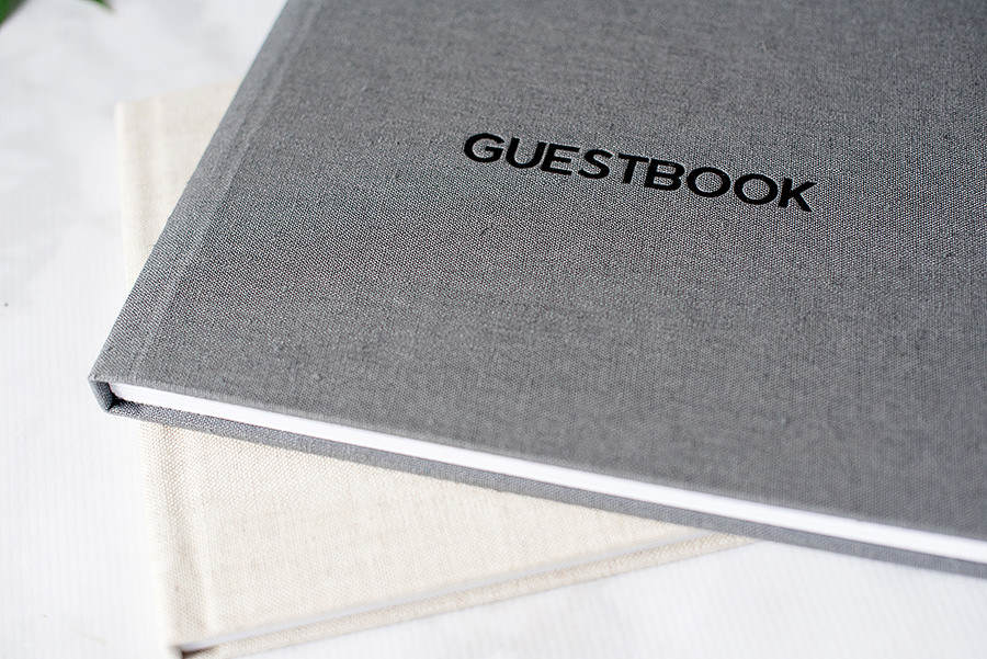 Close up of the guestbooks.