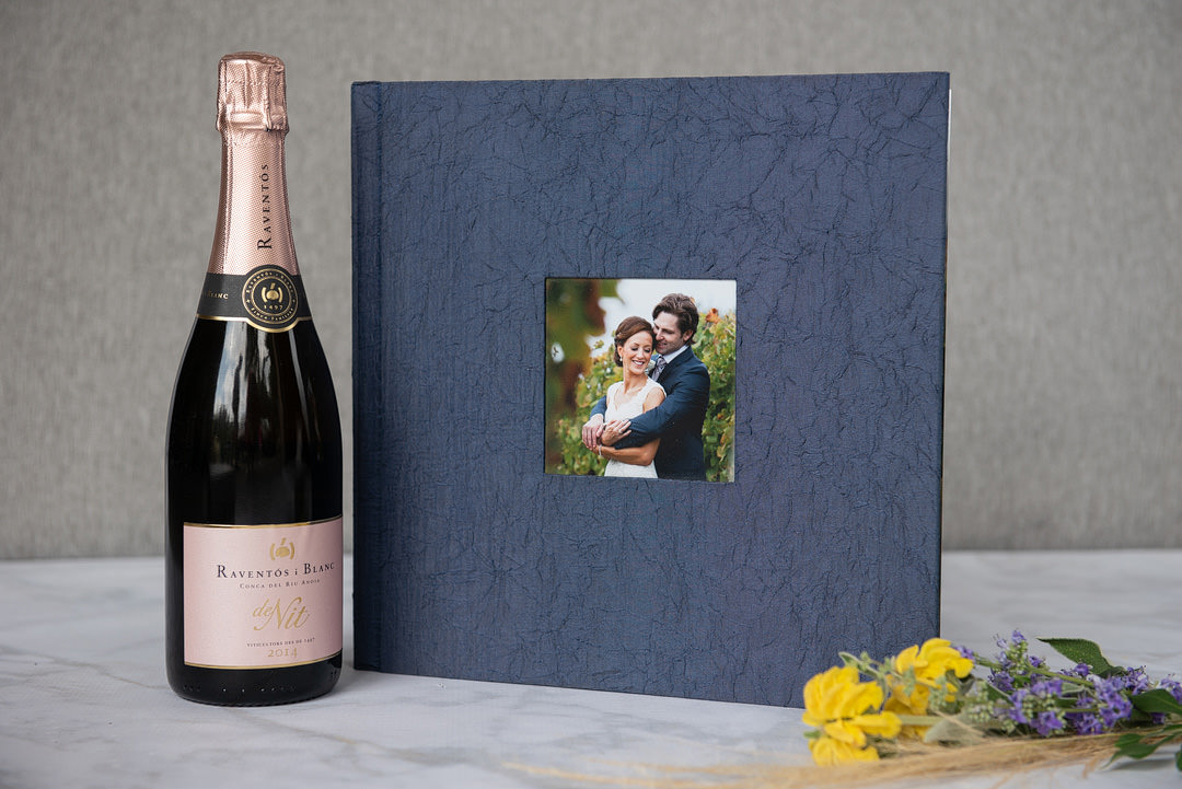 Large parent album in a crushed navy blue silk