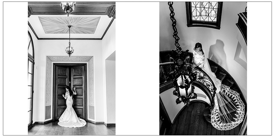 glamorous black and white bridals shown in two page spread