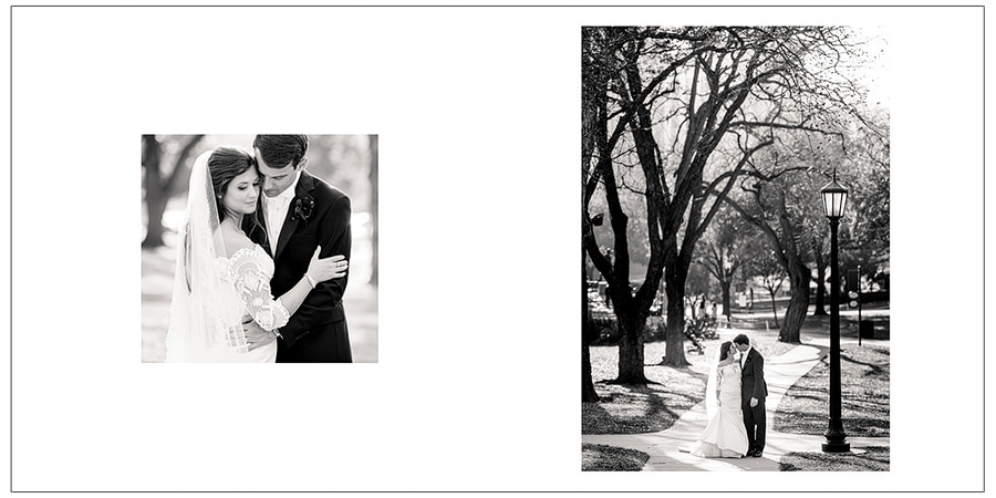 downtown pre wedding shots shown in two page spread