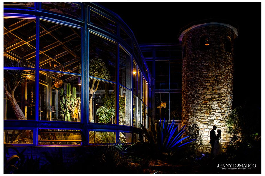 Silhouette of Bride and Groom at the Greenhouse at Driftwood