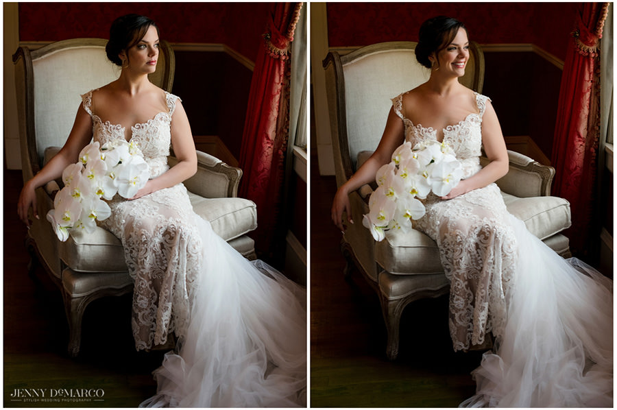 dramatic window light bridal portrait in the red room