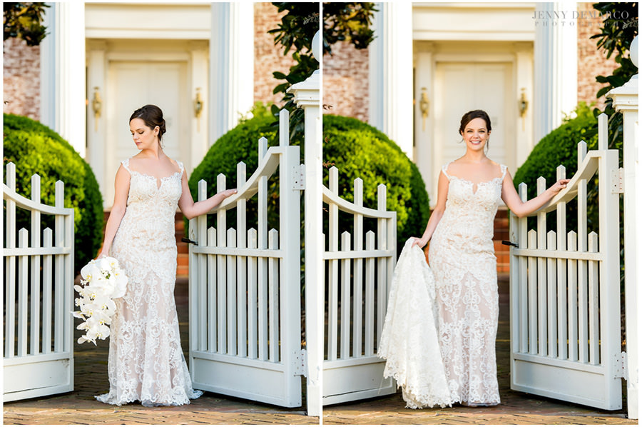 bridal portrait in front of the white gates at woodbine mansion