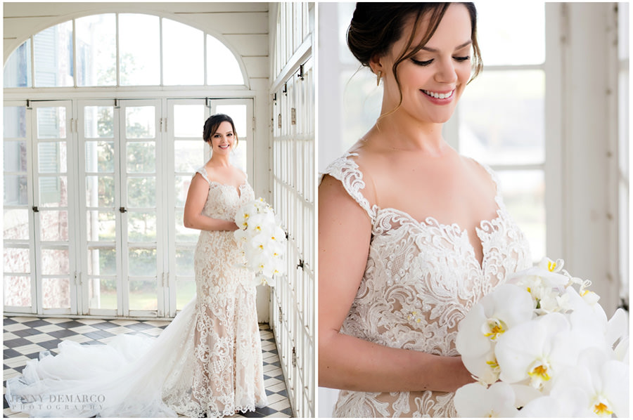 spring bridal in the sunlit windows of the sleeping porch at woodbine