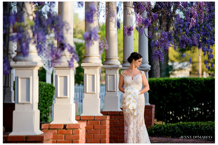 spring floral bridal under the purple wisteria at the historic woodbine mansion