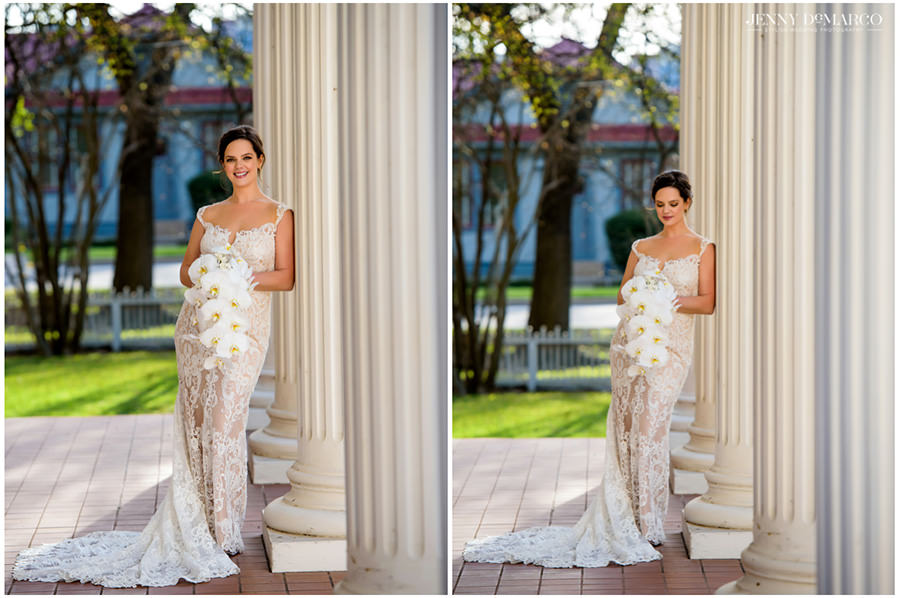 springtime bridals by the white historic pillars of the woodbine mansion