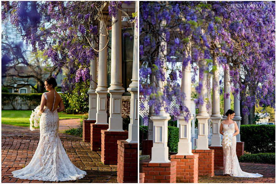 springtime purple wisteria blooms in dramatic bridal portraits