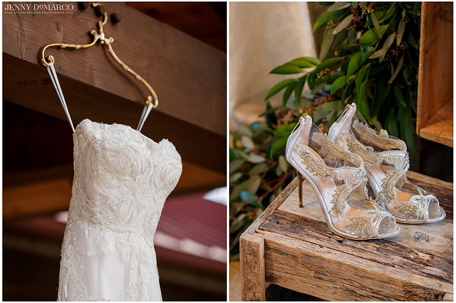 details of the brides dress and shoes