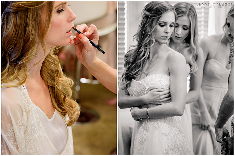 the beautiful bride getting ready with her bridesmaids