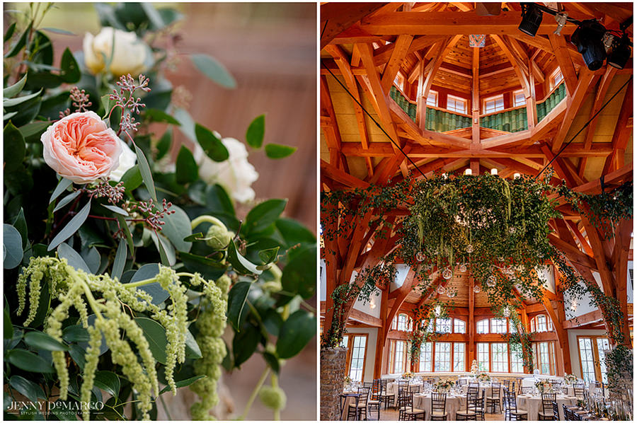 details of the wood and pink tones of the reception