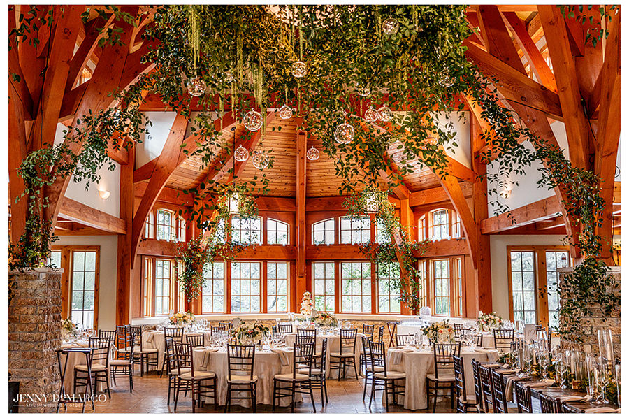 a wide shot of the lighting and hanging glass details at Sacred Oaks
