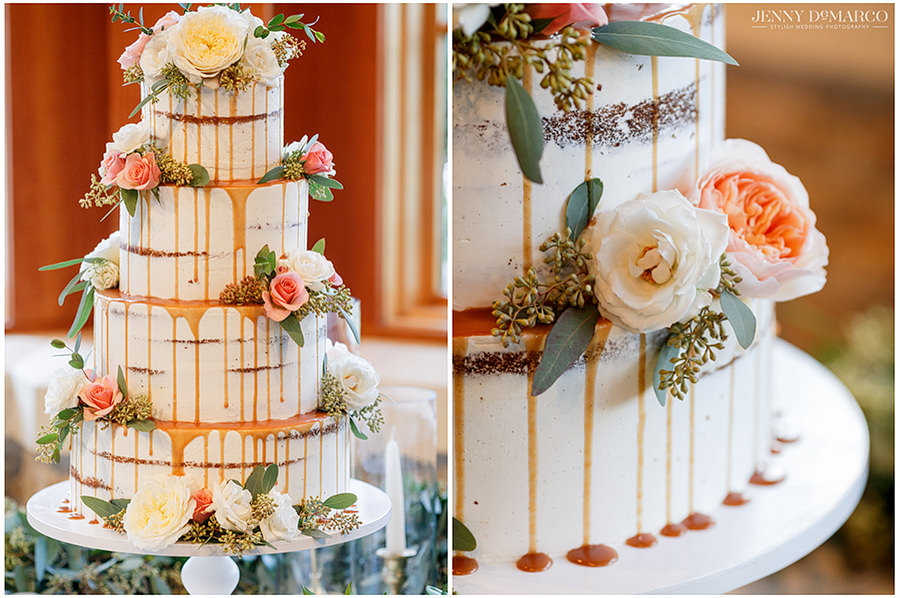 details of the rustic cake