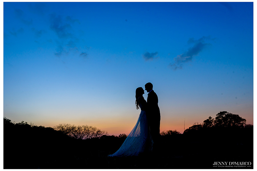 the newlyweds under the sacred oaks and a sunset