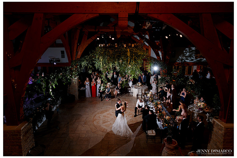 an arial shot of the couples first dance