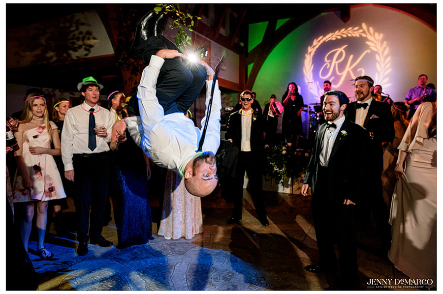 a backflip on the dance floor