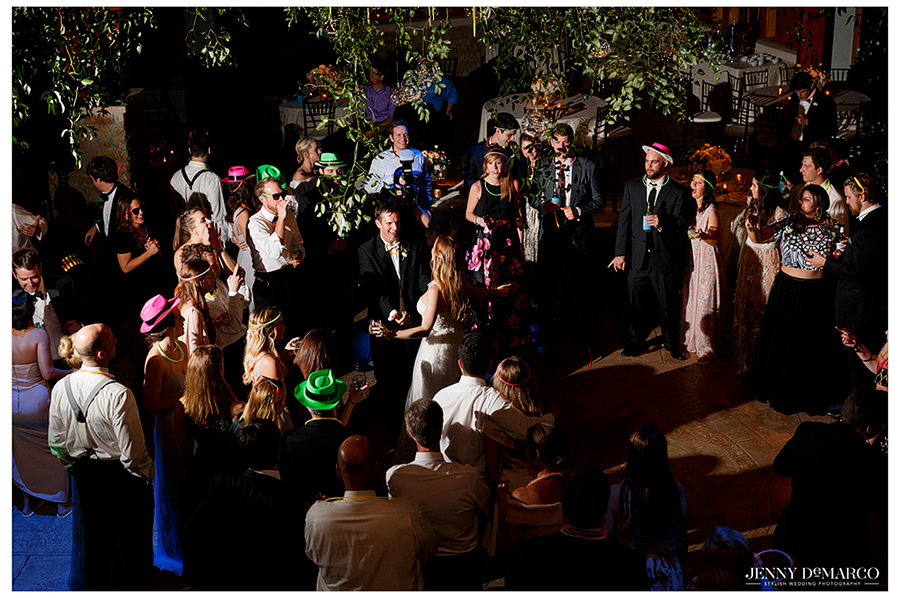 an arial shot of the guests at the sacred oaks wedding