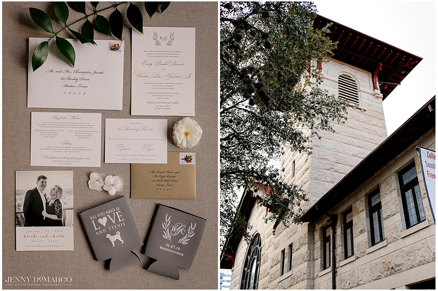 details of the invitations and the white brick of the venue