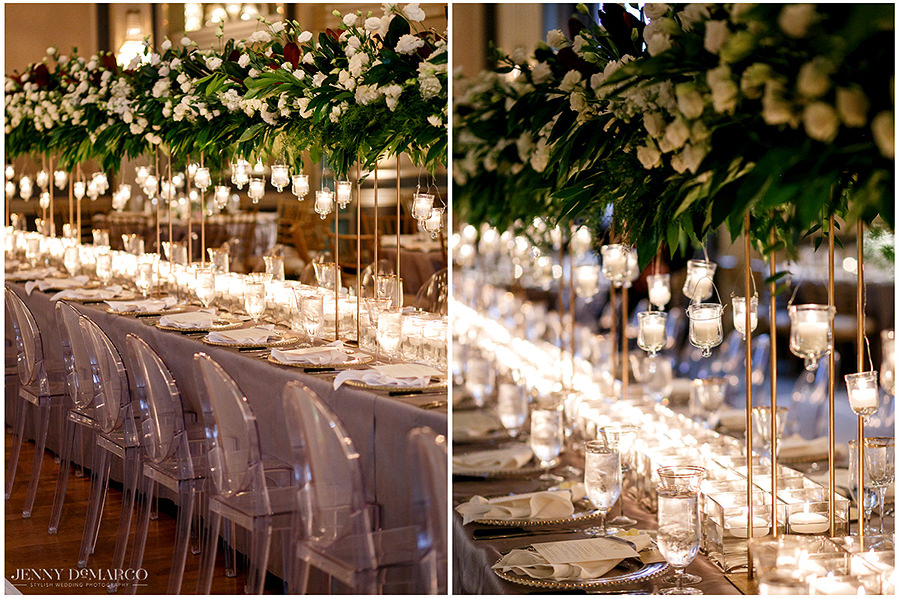 the white and green details of the table with small lighting decor