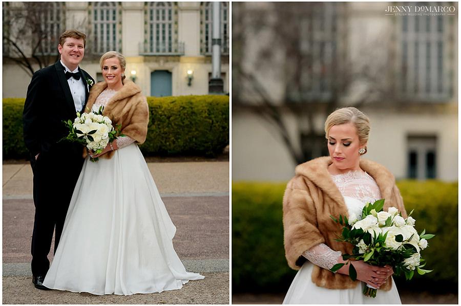 posh and elegant portraits of bride and groom