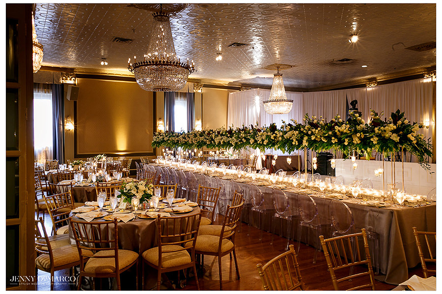 a wide shot of the reception decor at The Austin Club