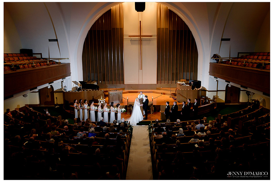 a beautiful wide shot of the glamorous church reception