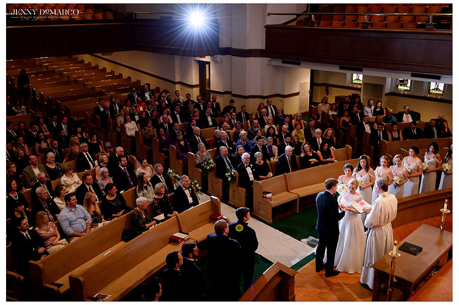 a beautiful wide shot of the ceremony at The Austin Club wedding