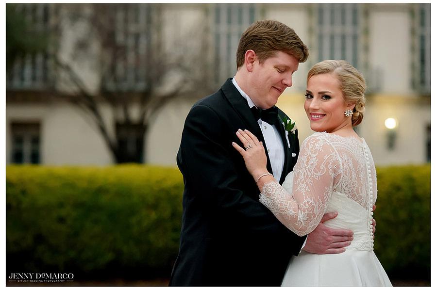 the beautiful bride smiles in pre reception shoot