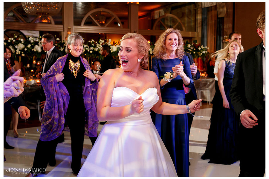 the bride dancing at the Austin Club