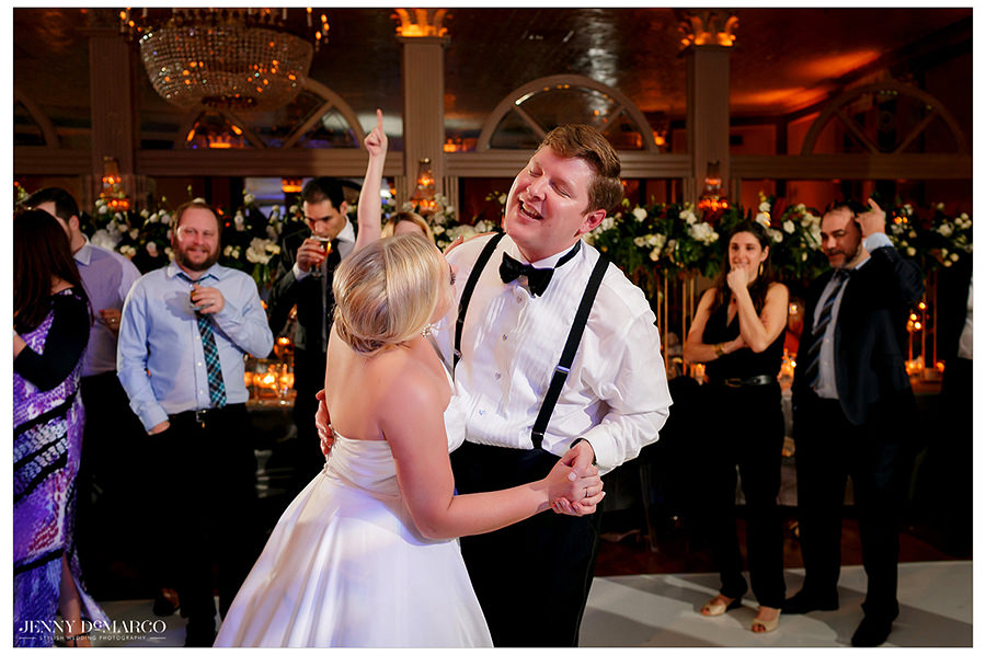 the couple dancing at the beautiful Austin Club wedding