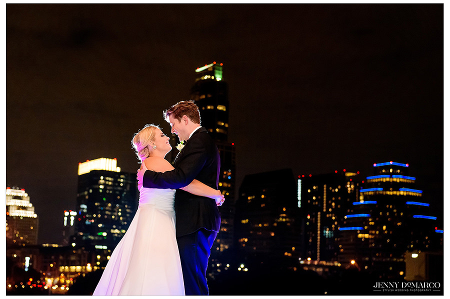 a final sweet moment with The Austin Skyline in the background