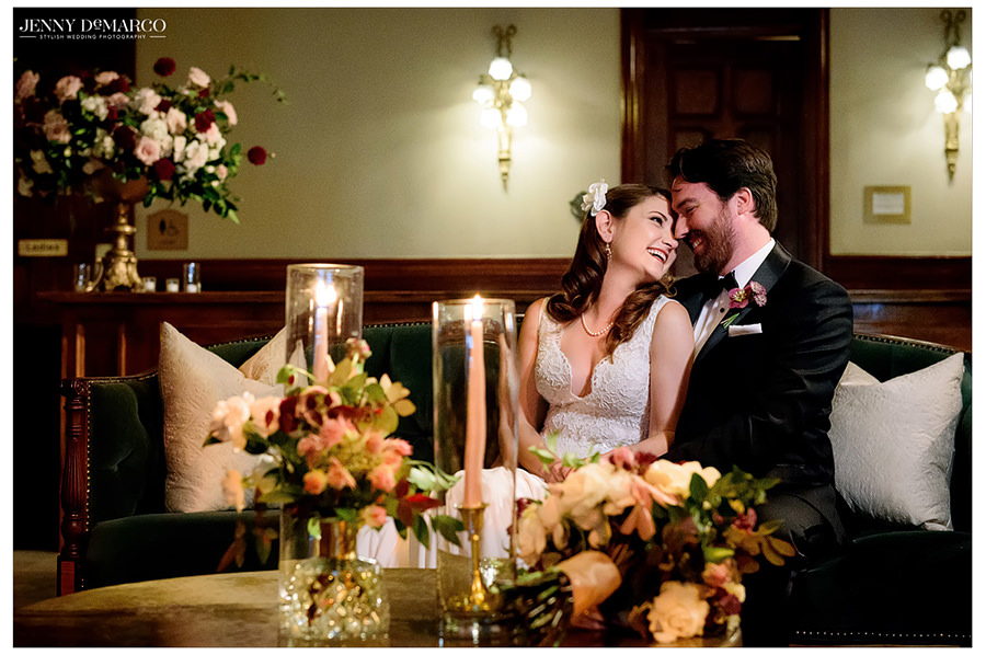 the sweet couple sharing a moment at the Driskill hotel
