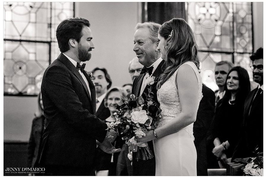 a beautiful black and white wedding alter shot