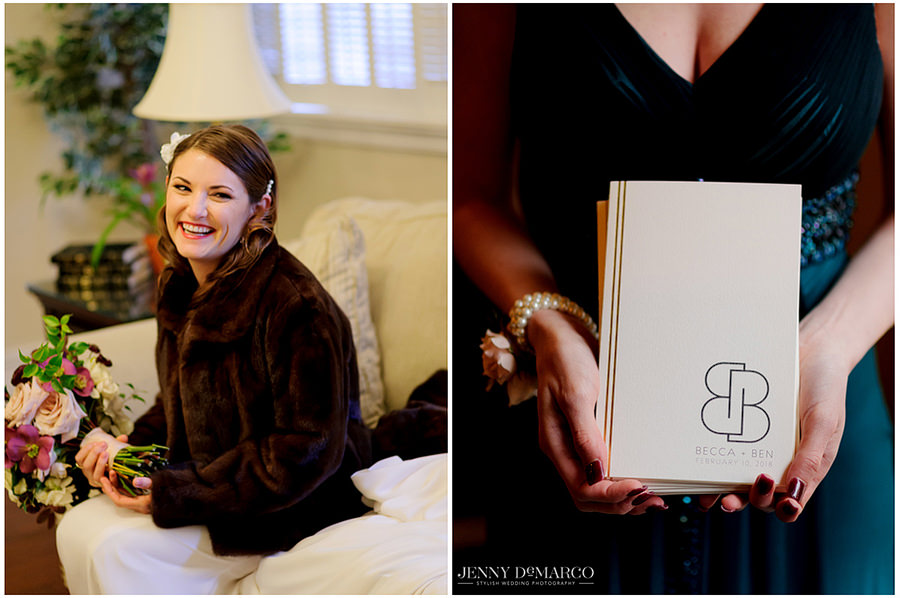 the bride and her invitations to the ceremony