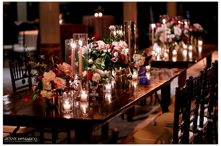 tiny lights fill the reception and illuminate the decorated tables