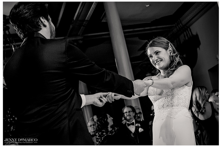 the newlyweds first dance at the Driskill Hotel