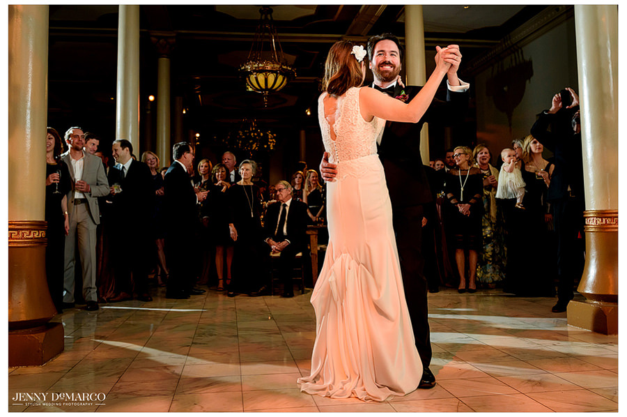 an elegant shot of the first dance at the DRISKILL HOTEL